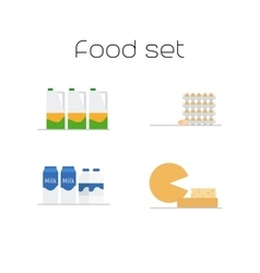 Foods market milk and eggs icons vector image vector image
