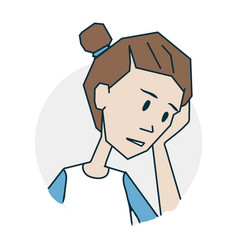 girl is upset and thoughtful vector image vector image