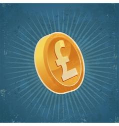 Retro Gold Pound Coin vector image vector image