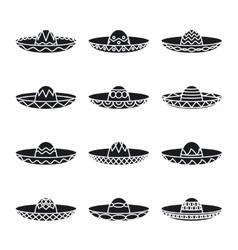 Set of mexican sombrero hat vector