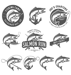 Vintage salmon fishing emblems and design elements vector image vector image