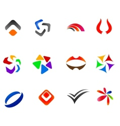 12 colorful symbols set 2 vector image