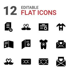 12 invitation icons vector image