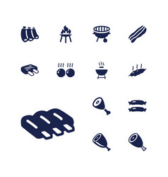 13 grilled icons vector
