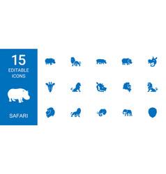 15 safari icons vector