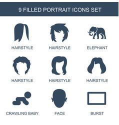 9 portrait icons vector