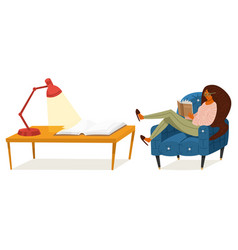 a fan books a woman is sitting on couch vector image