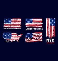 american flag grunge patriotic style print vector image