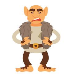 Angry troll character scandinavian mythology vector