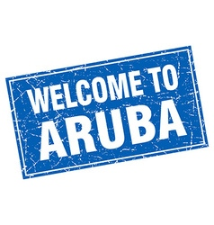 Aruba blue square grunge welcome to stamp vector