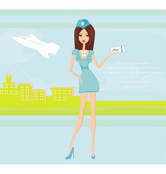 Beautiful stewardess with ticket at the airport vector image