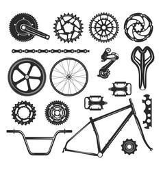 bicycle repair parts set vehicle element icon vector image