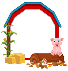 border template with pig in the barn vector image