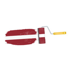 brush stroke with latvia national flag isolated on vector image