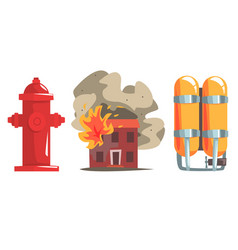 burning house and firefighter equipment set red vector image
