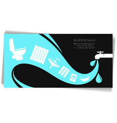business card for a plumber water is pouring down vector image