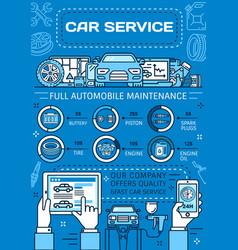 Car repair service wheel tire engine spare parts vector