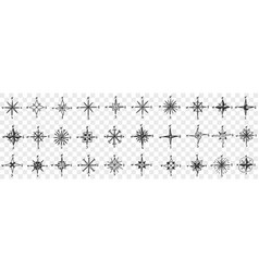 cardinal points on compass doodle set vector image
