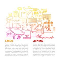 Cargo shipping line template vector
