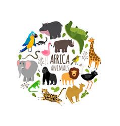 Cartoon african animals printable banner vector