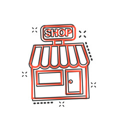 cartoon store market icon in comic style shop vector image