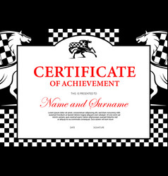 Certificate achievement horse race winner vector