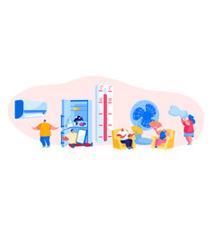 Characters in summer time hot period concept vector