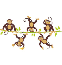 Cheerful monkeys frolic on a vine cheerful monkeys vector