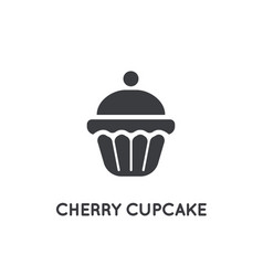 cherry cake cupcake cream brownie glyph element vector image