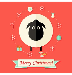 Christmas Card with Sheep over Red vector