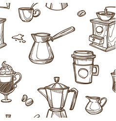 Coffee cups and beans sketch pattern background vector