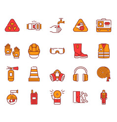 color line icon set safety tools vector image