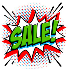 comics style sale tag green sale web banner pop vector image vector image