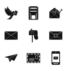 Communication via internet icons set simple style vector