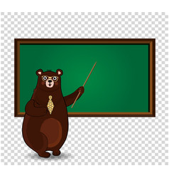 cute cartoon bear teacher in glasses and tie vector image