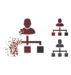 destructed dot halftone user hierarchy icon vector image