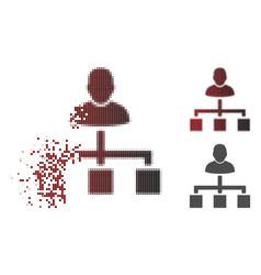 Destructed dot halftone user hierarchy icon vector