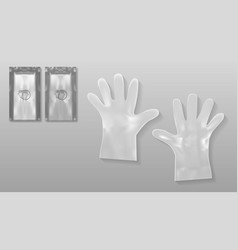 Disposable transparent plastic gloves with packing vector