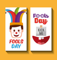 face happy clown mask and kick me fools day vector image