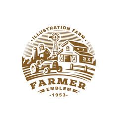 farm logo in vintage style vector image