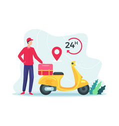 fast delivery package scooter vector image