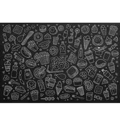 Fast food doodles hand drawn chalk board vector image