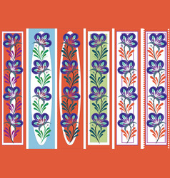 Floral ornamental bookmark folk petrykivka style vector