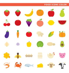 food icons color vector image