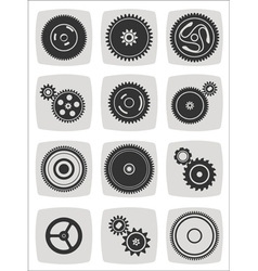 Gearwheel mechanism icon set vector