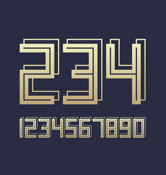 geometric font 3d effect design numbers space vector image