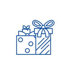 gift boxes line icon concept gift boxes flat vector image