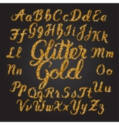 Glitter Gold Handwritten alphabet vector