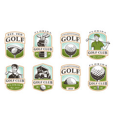 Golf set 12 logos vector