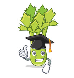 Graduation celery character cartoon style vector